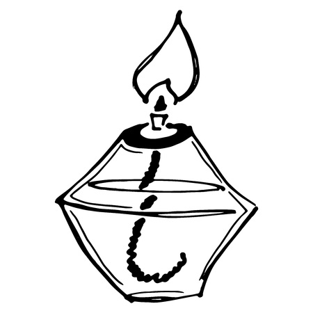 Brûleur chimique. Illustration vectorielle d'un brûleur d'alcool. Brûleur chimique dessiné à la main, buse. Brûleur pour expériences chimiques. Équipement chimique. Vecteurs
