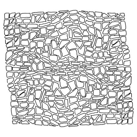 Steinwand. Vektor-Illustration einer Steinmauer, Steinmauer. Handgezeichneter Stein.