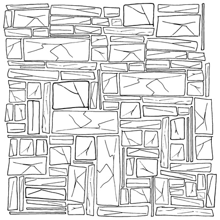 Rough stonework. Background of old stone wall. Masonry. Vector illustration of a stone wall, wall of stone. Hand drawn stone.