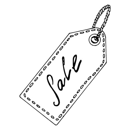 Icon sale, discount. Vector illustration of an icon with an inscription sale. Hand drawn logo sale, discount percentage. Round tag with the word