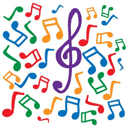 Notes de musique colorées. Illustration vectorielle. Fond de notes de musique. Vecteurs
