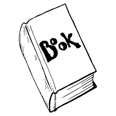 Book. Vector illustration of a textbook, a book. Closed book with the inscription