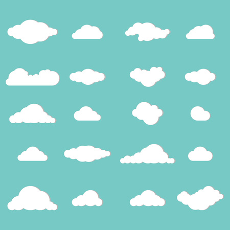 Clouds. Vector illustration of a cloud icon. Set of different clouds.