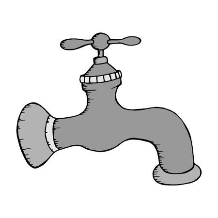 Robinet. Illustration vectorielle d'un robinet d'eau. Robinet d'eau dessiné à la main.