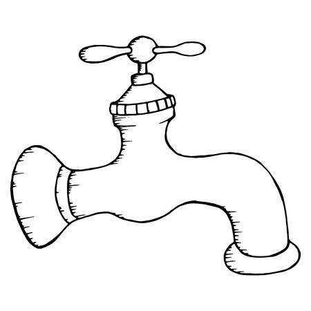 Kran. Ilustracja wektorowa kranu wody. Ręcznie rysowane kran.