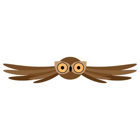 Owl. Vector illustration of an owl with green eyes. Cartoon owl.