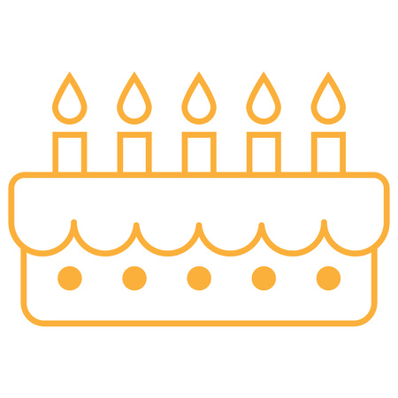 Contour of cake with candles. Vector illustration