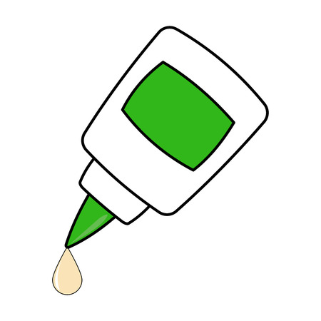 Inverted glue bottle. Jar with a sharp cap. Tube glue. Plastic jar with blank blank for text. Vector illustration.
