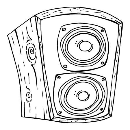 Musikalische Kolumne. Musikalischer Lautsprecher der Vektorillustration lokalisiert auf weißem Hintergrund. Handgezeichnete Doodle-Musikspalte.