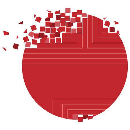 Round pixel red logo vector template design icon. Pixel circle.