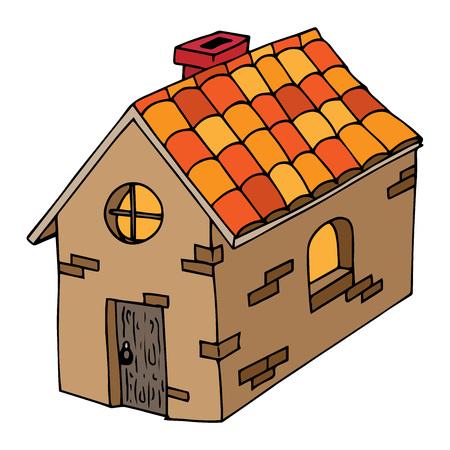 Conte de fées, maison de bande dessinée. Illustration vectorielle d'une maison rustique. Maison dessinée à la main avec porte en bois et fenêtre ronde.