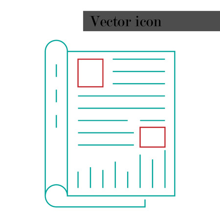 Notepad, journal with entries icon. Vector illustration book, notebook for registration. Logo notepad. Vettoriali
