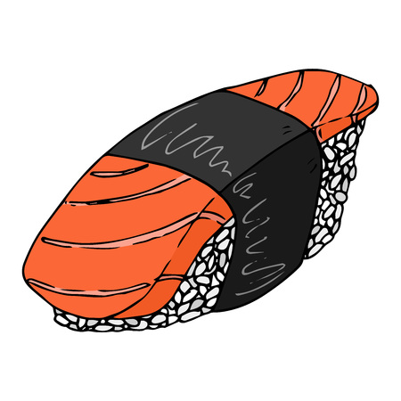 Sushi icon. Vector japanese food sushi. Hand drawn sushi.