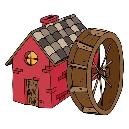 Icona del mulino ad acqua. Casa di illustrazione vettoriale con tetto di tegole. Casa disegnata a mano con porta in legno e finestra rotonda.