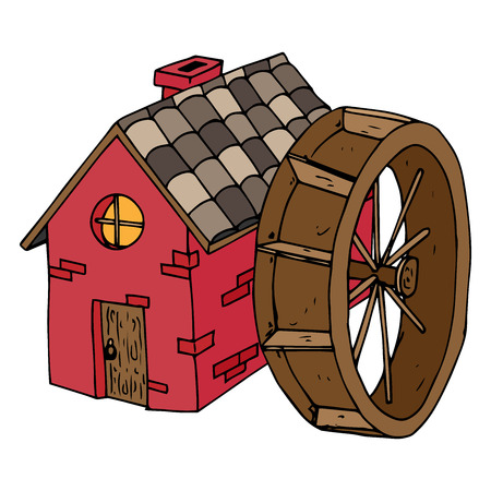 Watermolen pictogram. Vector illustratie huis met een pannendak. Handgetekend huis met houten deur en het ronde raam.