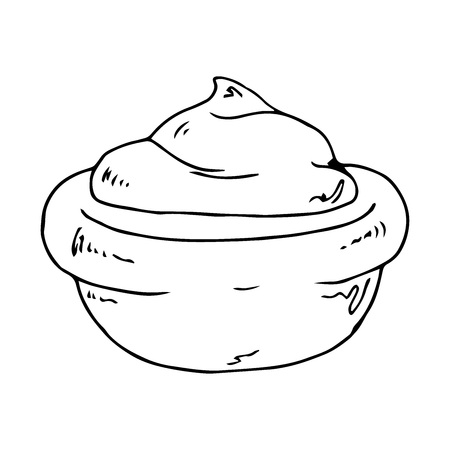 Hand drawn of sauces in bowls. Vector illustration ketchup or mayonnaise or mustard and wasabi in bowls.  イラスト・ベクター素材