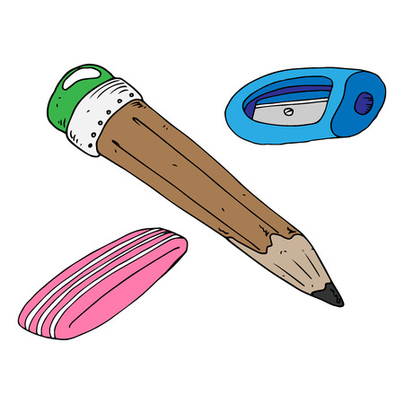 Pencil with eraser and sharpener icon. Vector illustration of a pencil and sharpener. Hand drawn simple pencil with sharpener and eraser. School set of pencil, eraser and sharpener.