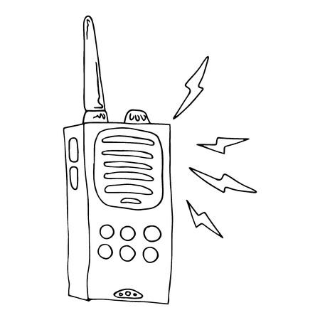 Radio walkie talkie icon. Vector illustration of a radio transmitter, walkie talkie. Hand drawn walkie talkie.