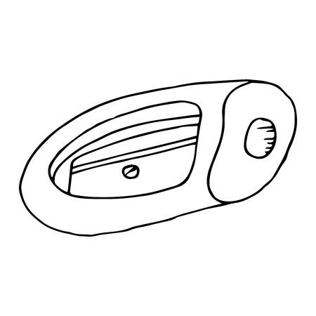 Pencil sharpener icon. Vector illustration of a pencil sharpener. Hand drawn pencil sharpener.