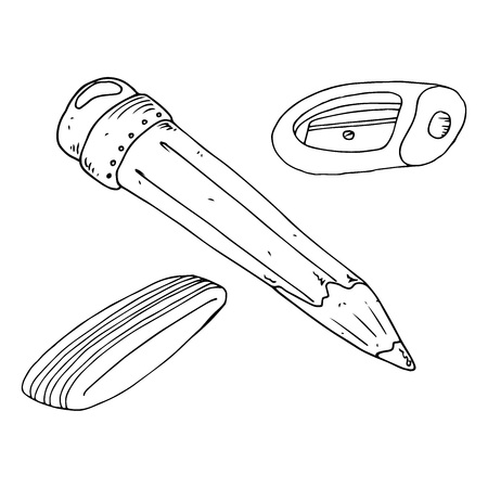 Pencil with eraser and sharpener icon. Vector illustration of a pencil and sharpener. Hand drawn simple pencil with sharpener and eraser. Set of subjects for the school.