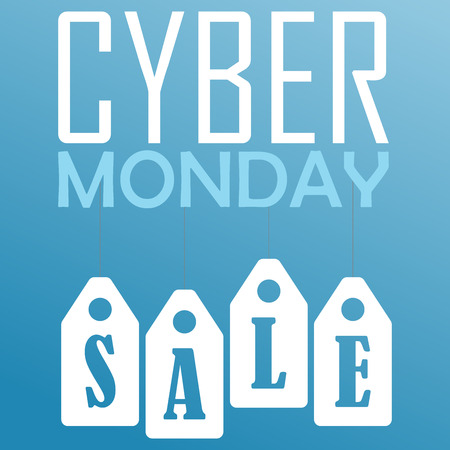 Cyber Monday sale website display with hang tags vector promotion.