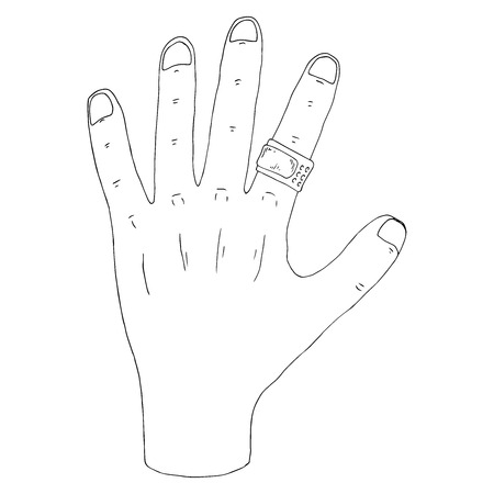 Hand with a plaster icon. Vector illustration of a human hand with a plaster. Hand drawn doodle hand with a medical plaster.