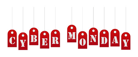 Cyber Monday sale website display with red hang tags vector promotion. Background, signboard, banner on cyber monday.