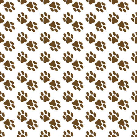 Seamless pattern of the cats foot. Hand drawn imprint of the cats paw. Vector illustration of a seamless background of a cats paw. Doodle animal print clutches. Ilustrace
