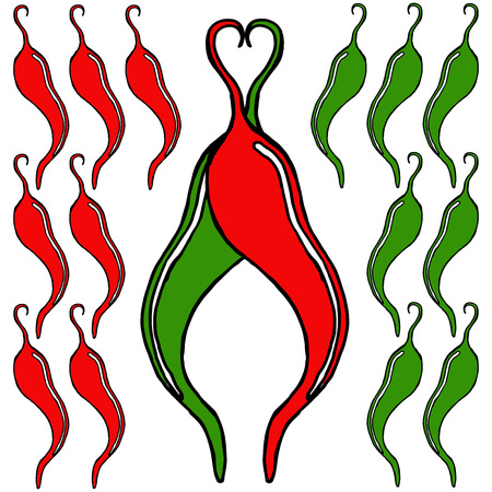 vector hot green and red pepperpainted chilipepper pattern