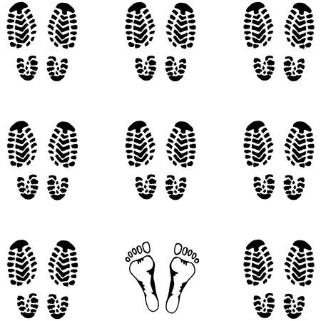 Motif sans couture Impression de la semelle de la chaussure. Fond de la semelle des chaussures pour hommes. Chaussures et pieds imprimés à la main. Doodle formation de soldats. Vecteurs