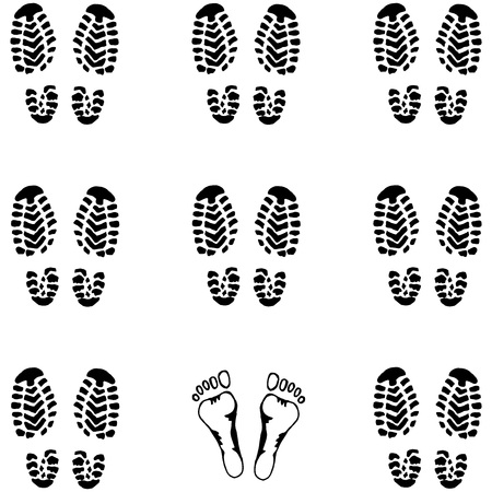 Seamless pattern Imprint of the sole from the shoe. Background of the sole of men's shoes. Hand drawn  print shoes and bare feet. Doodle formation of soldiers.
