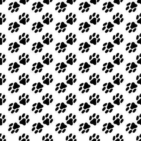 Seamless pattern of the cat's foot. Hand drawn imprint of the cat's paw. Vector illustration of a seamless background of a cat's paw. Doodle animal print clutches. Ilustrace