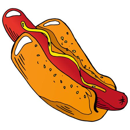 vector hot dog/hot dog hand drawn/unhealthy eating pattern/delicious hot dog Standard-Bild - 112190992