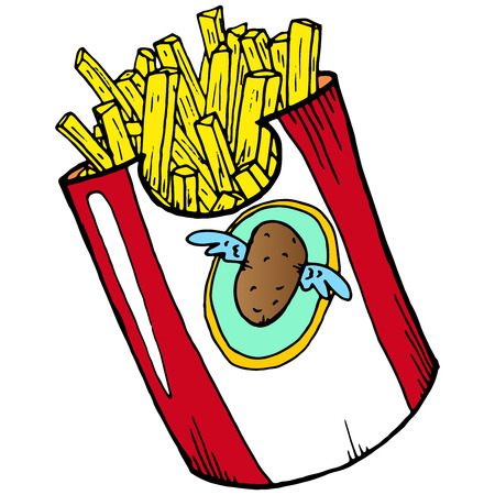 French fries. Vector illustration of fried potatoes. Hand drawn french fries. 矢量图像