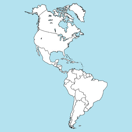 Map of North and South America. Vector illustration outline map of South America, North America. Hand drawn atlas, globe, map of South and North America. Иллюстрация