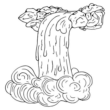Handgezeichneter gemalter Wasserfall. Wasserfall mit Steinen. Vektor-Illustration. Vektorgrafik