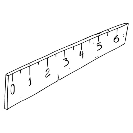 Ruler icon. Vector illustration of a school ruler. Hand drawn ruler.