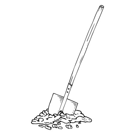 Shovel with the ground. Vector illustration of a shovel with a wooden handle. Hand drawn shovel. Ilustrace