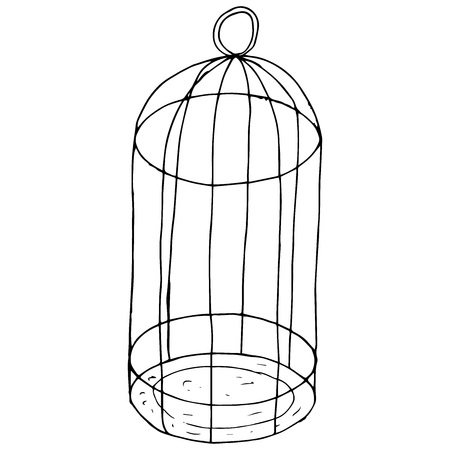 Cage icon. Vector illustration of an empty bird cage. Hand drawn cage for a parrot.