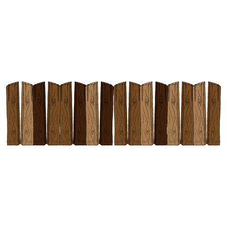 Wooden fence. Vector illustration of a fence made of wooden planks. Hand drawn wooden fence.