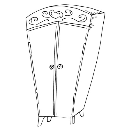 Wardrobe icon. Vector illustration of a fabulous wardrobe. Hand drawn cartoon wardrobe.