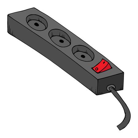 Rallonge électrique. Illustration vectorielle d'une rallonge électrique. Rallonge électrique dessinée à la main avec bouton.