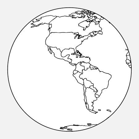 Map of North and South America. Vector outline map of South America, North America. Hand drawn globe, map of South and North America.