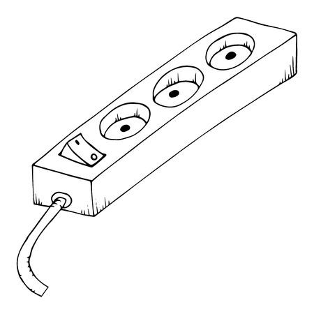 Cable de extensión eléctrico. Vector de un cable de extensión eléctrico. Extensión eléctrica dibujada a mano con botón. Ilustración de vector