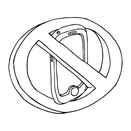 Sign of prohibition. Prohibited mobile phone. Smartphone. Vector illustration.