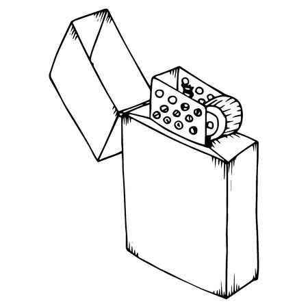 Icône plus légère. Vecteur d'un briquet. Briquet dessiné à la main.