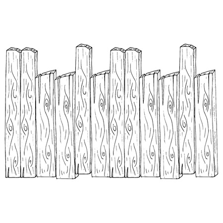 Wooden fence. Vector illustration of a fence made of wooden planks.