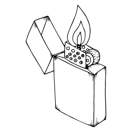 Ouvrez l'icône du briquet. Illustration vectorielle d'un briquet. Briquet dessiné à la main.