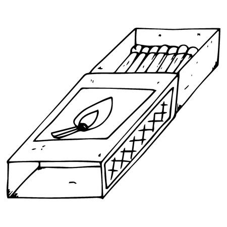 Matchbox icon. Vector illustration of a match. Hand drawn matchbox.