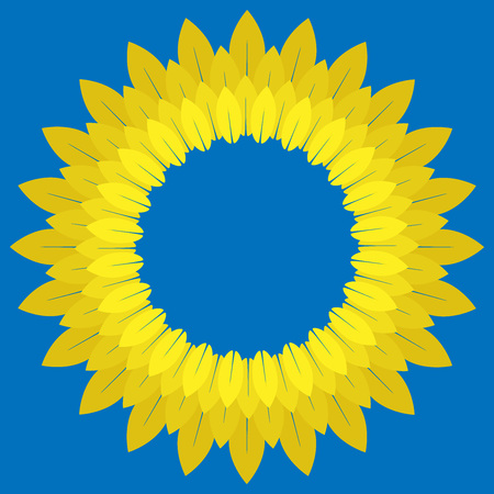 Flower in the colors of the Ukrainian flag. Vector of a wreath in yellow blue colors. Flower of leaves in the colors of the Ukrainian flag. Symbols, the flag of Ukraine.